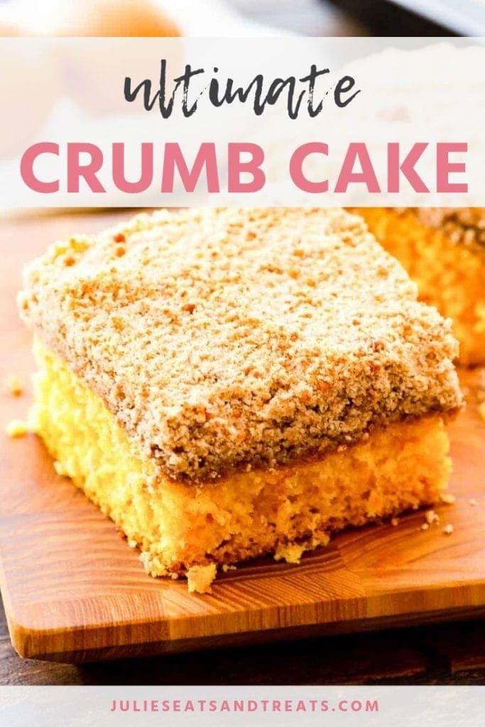 Piece of crumb cake on a cutting board