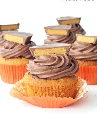 Buttery soft peanut butter cake topped with swirls of chocolate buttercream and finally, a gooey Reese's peanut butter cup