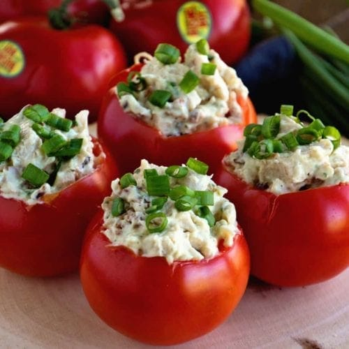 Bacon Ranch Chicken Salad Stuffed Tomatoes Video Julie S Eats