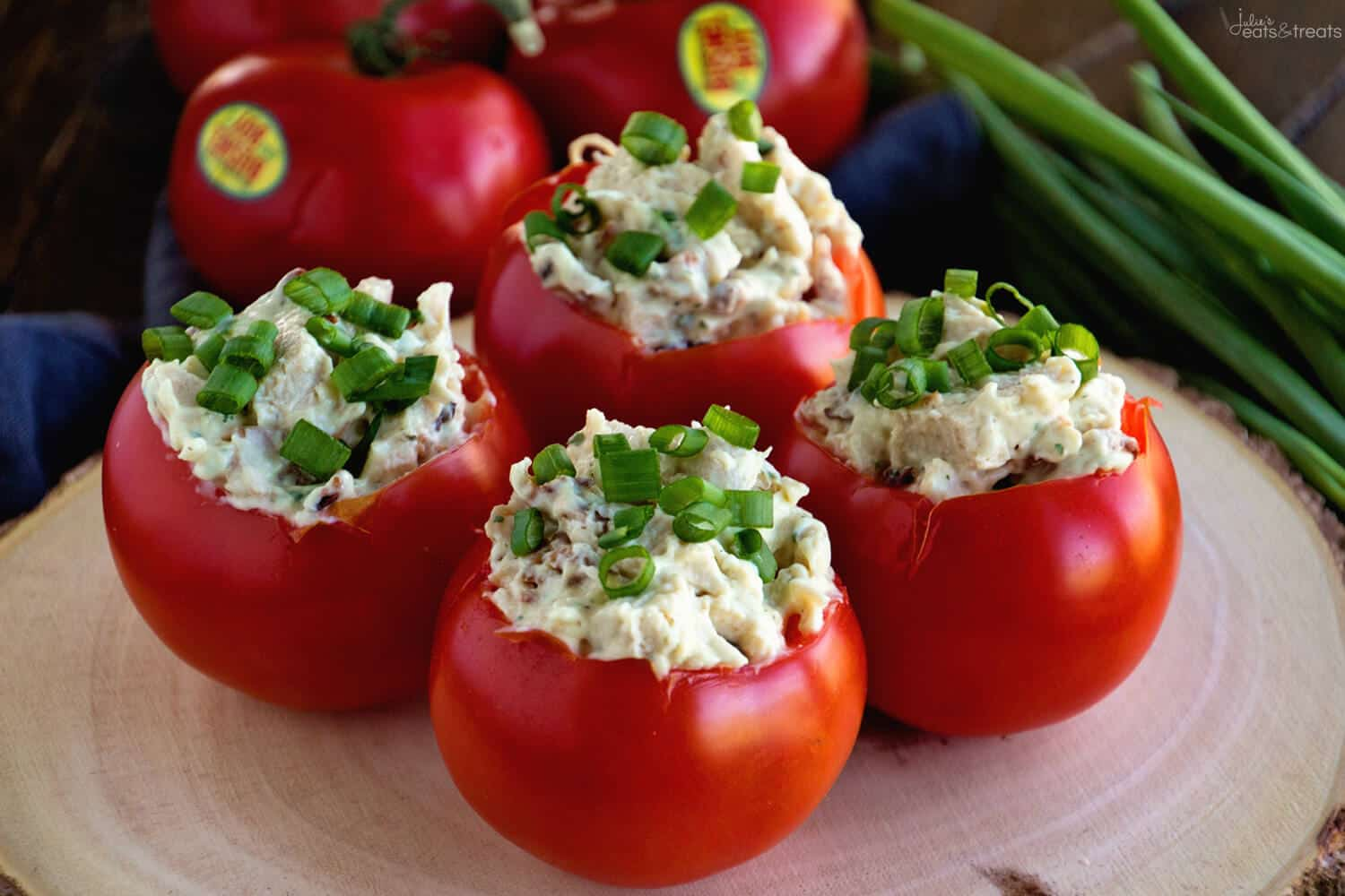 Bacon Ranch Chicken Salad Stuffed Tomatoes Recipe ~ Plump, Juicy Tomatoes Stuffed with a Delicious Chicken Bacon Ranch Salad! The Perfect Healthy, Low Carb Recipe for Summer!