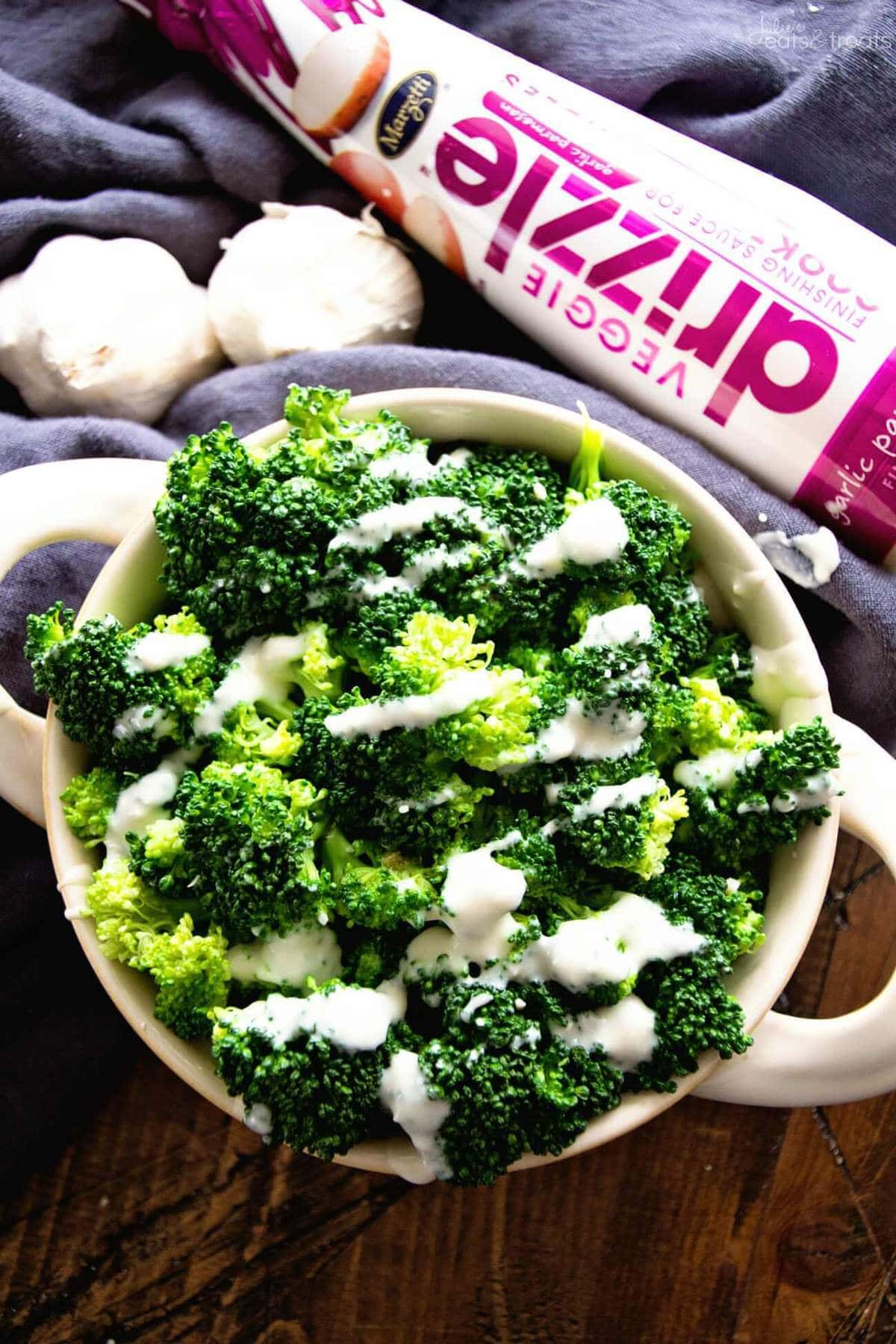 Garlic Parmesan Broccoli Recipe ~ Fresh, Steamed Broccoli Made in the Microwave and finished with Garlic Parmesan Marzetti® Veggie Drizzle™! The Perfect Quick & Easy Weeknight Side Dish that's Ready in Minutes!