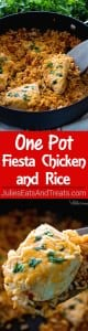 One Pot Fiesta Chicken & Rice Recipe ~ Quick, Easy One Pot Dinner with a Southwestern Flair! Cheesy Chicken In a Bed of Southwestern Rice Makes the Perfect Quick Meal!