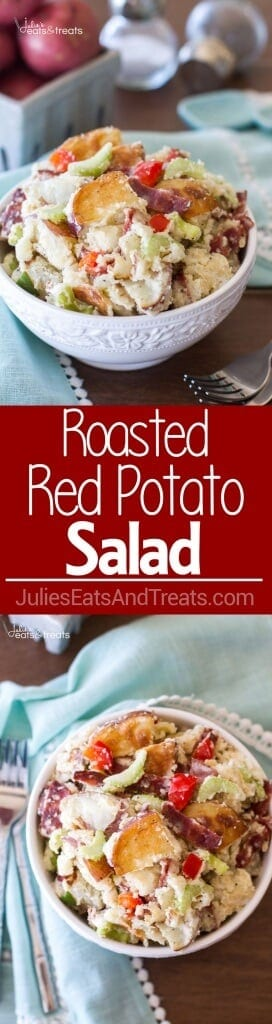 Roasted Red Potato Salad Recipe ~ Delicious Potato Salad Perfect for Your Next Grill Out! Roasted Potatoes and Bacon Plus Full of Flavor From Celery, Red Peppers, Egg & Onions!
