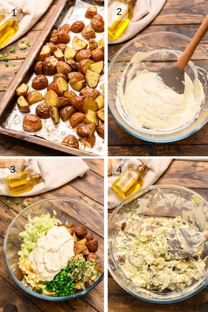 A collage of four images showing how to make potato salad