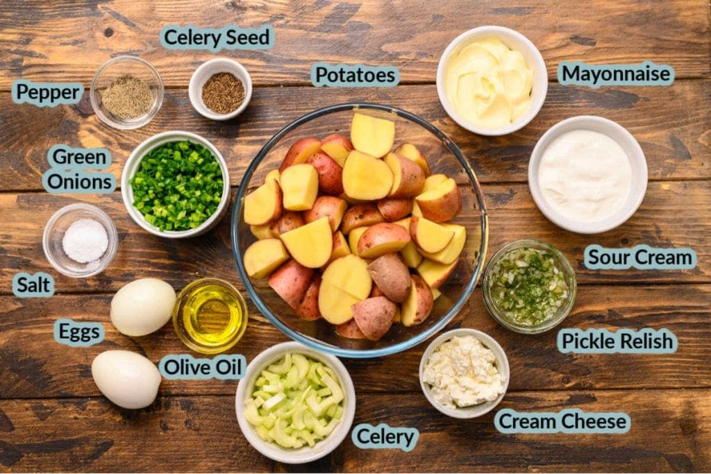 Overhead image showing ingredients needed to make recipe