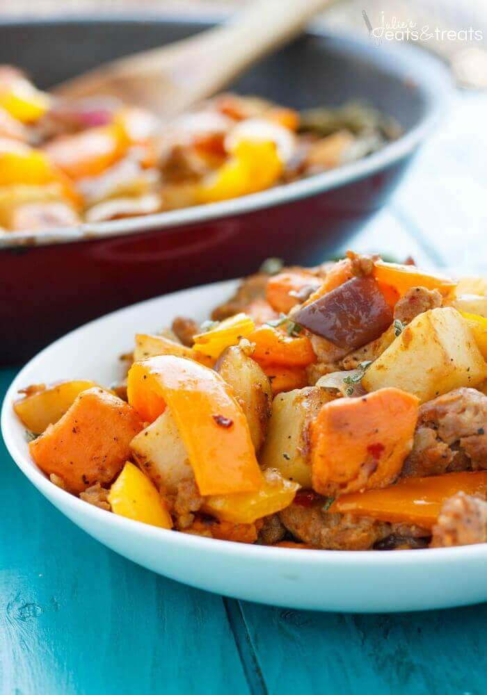 Sweet Potato Hash with Peppers and Onions Recipe ~ A blend of Two Different Potatoes Makes This Sweet Potato Hash with Sausage, Peppers and Onions a Delicious Breakfast!
