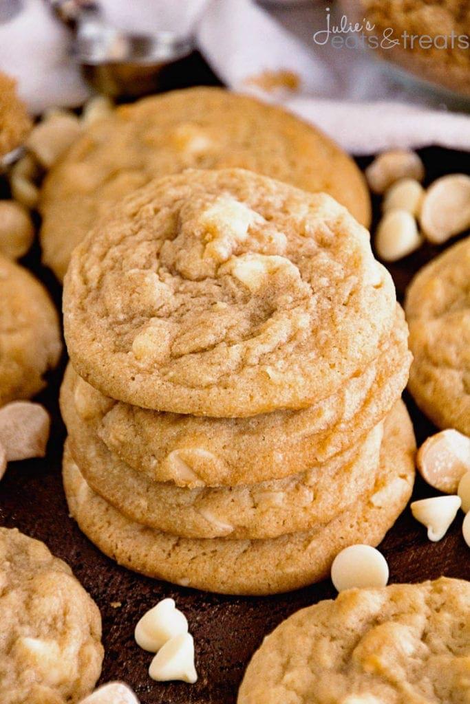 Stack of White Chocolate Macadamia Nut Cookies