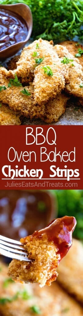 BBQ Baked Chicken Fingers Recipe ~ Homemade Chicken Fingers that are Marinated in BBQ Sauce then Dipped in Egg and Panko Crumbs for a Delicious Homemade Chicken Finger!