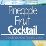 Pineapple Fruit Cocktail Drink Recipe ~ A blend of pineapple, apple, and orange juice are the stars of the show with this pineapple fruit cocktail. Served with sliced pear and the optional rum which are also refreshing for the summer!