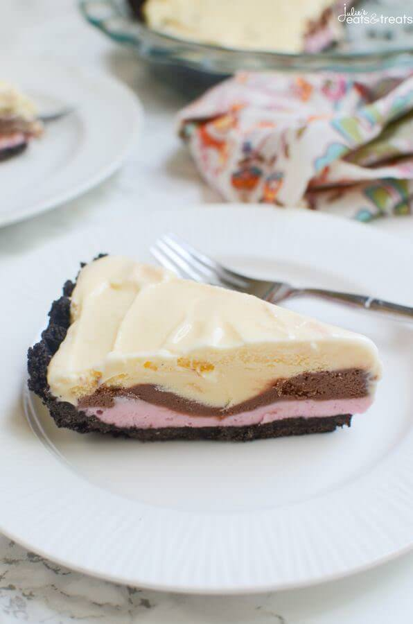 No Bake Neapolitan Ice Cream Pie - Julie's Eats & Treats
