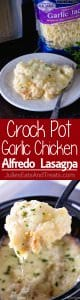 Crock Pot Garlic Chicken Alfredo Lasagna ~ Slow Cooker Lasagna Loaded with Chicken, Alfredo and Garlic! This is the Perfect Comfort Food Dinner for Busy Families!