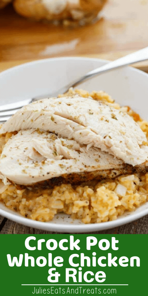 Crock Pot Whole Chicken and Rice on a white plate with a fork