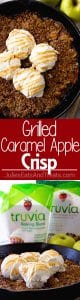 Grilled Caramel Apple Crisp ~ Enjoy Your Favorite Dessert on the Grill! Tender, Juicy Apples with Caramel Topped with Butter, Oatmeal and Ice Cream!
