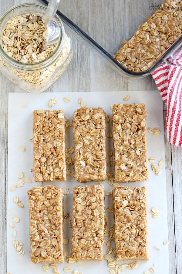 No Bake Peanut Butter Honey Granola Bars - An easy recipe for No Bake Granola Bars flavored with peanut butter and sweetened with honey. Switch up this recipe by adding in the mix-ins of your choice!