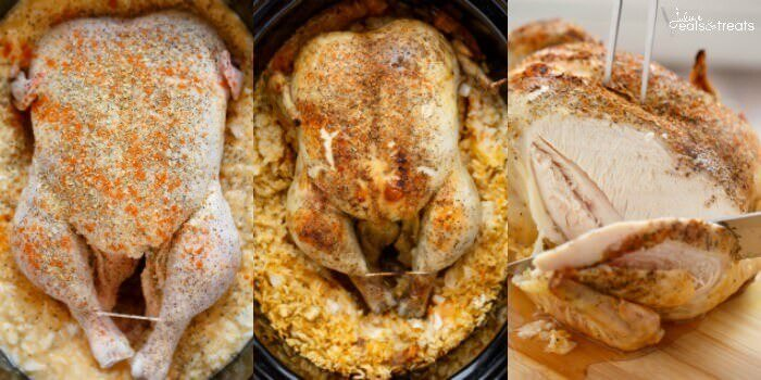 Collage of slow cooker chicken and rice