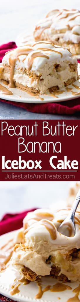 Peanut Butter and Banana Icebox Cake ~ Homemade Light & Fluffy Peanut Butter Mousse Layered with Peanut Butter Cookies and Bananas and then Drizzled with Peanut Butter! The Perfect No Bake Dessert!