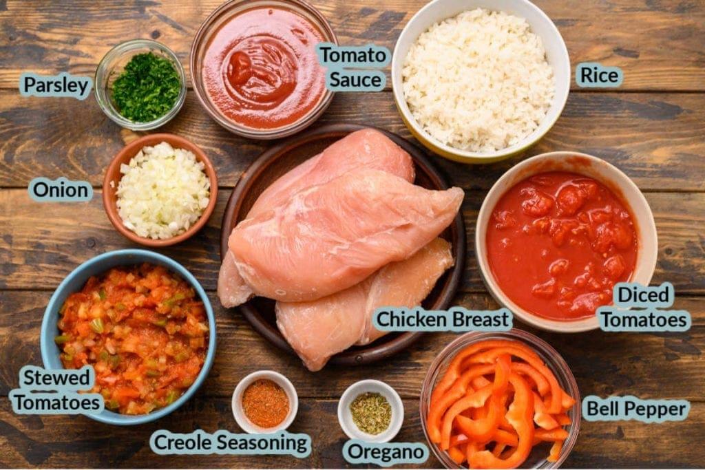Ingredients needed to make Chicken Cacciatore