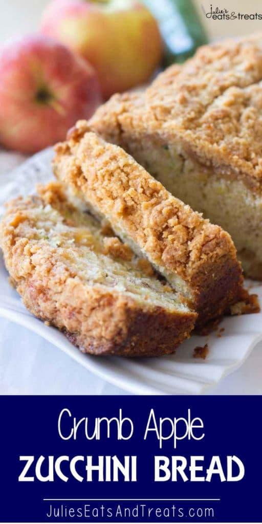 Crumb apple zucchini bread slices on a white tray