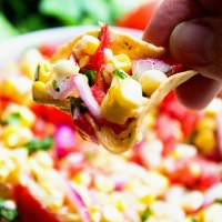 Grilled Corn Salsa ~ Fresh, Healthy and Delicious Salsa Made with Grilled Corn! Perfect for Dipping, Topping or Eating by the Spoonful!