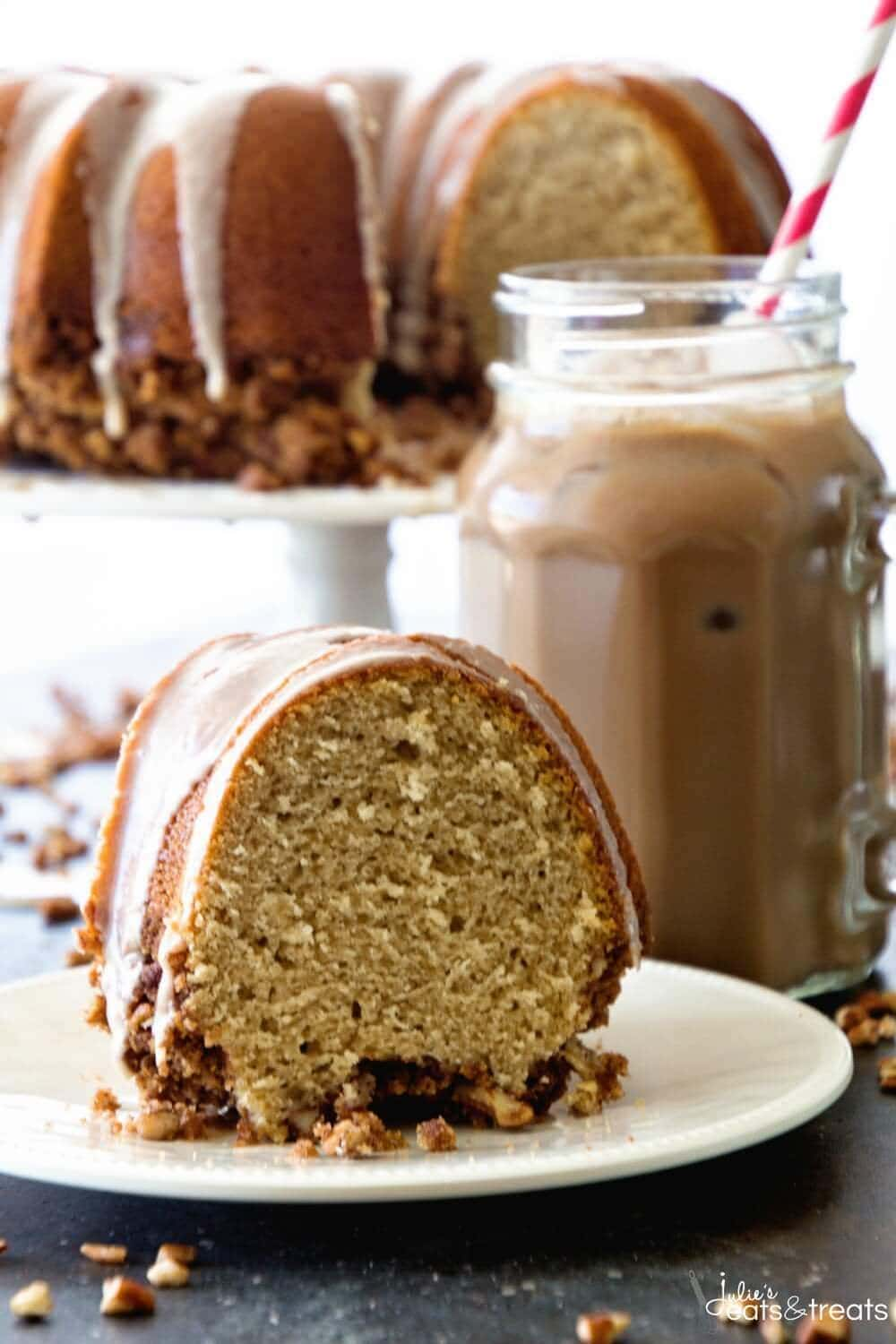 Mocha Iced Coffee Cake ~ Delicious and Easy Coffee Cake Perfect for Breakfast, Brunch or a Snack! Tender, Moist Coffee Cake Drizzled in Mocha Icing!