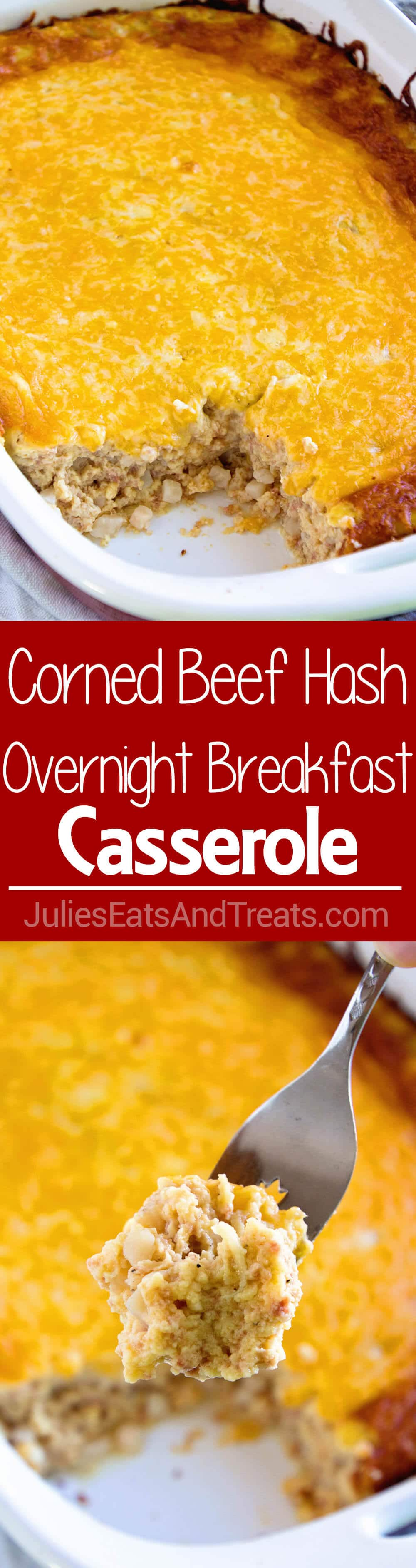 Corned Beef Hash Overnight Breakfast Casserole ~ Delicious, Comforting Overnight Breakfast Casserole Loaded with Corned Beef Hash, Eggs and Cheese! The Perfect Breakfast for Lazy Mornings!