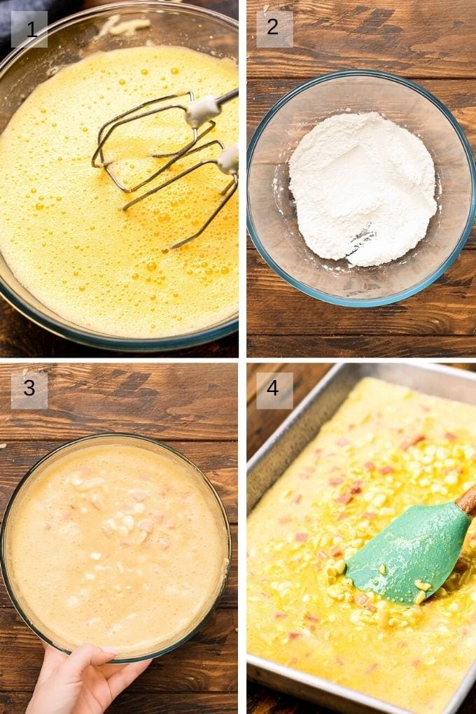 Collage of four image showing how to make baked omelettes