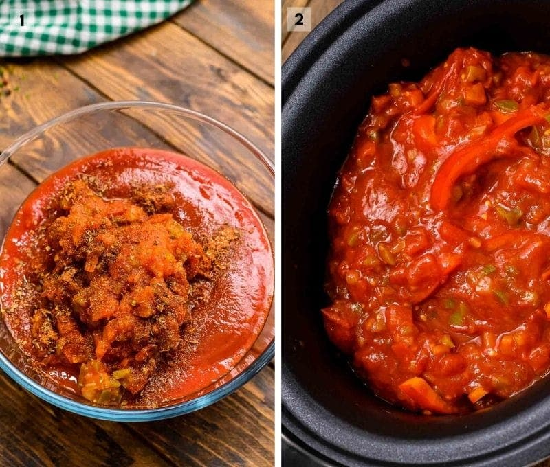 Collage of two images on how to make chicken cacciatore