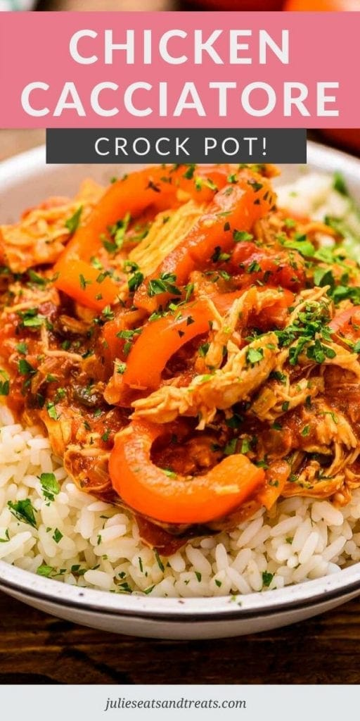 Crock Pot Chicken Cacciatore served over rice in a white bowl