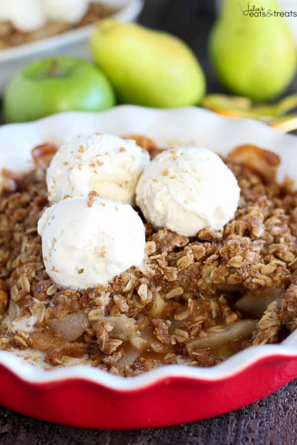 Apple Pear Crisp ~Tender apples and pears baked with a brown sugar oat ...