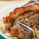 Bacon Ranch Crock Pot Meatloaf ~ The Ultimate Comfort Food Dinner! Homemade Meatloaf Wrapped in Bacon and Cooked in You Slow Cooker!