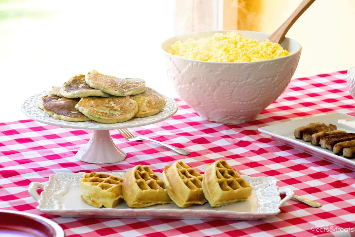 Breakfeast Pancake Bar Party ~ How to Throw You Own Breakfast Party Featuring Pancakes and Waffles! It's So Much Fun and So Easy!