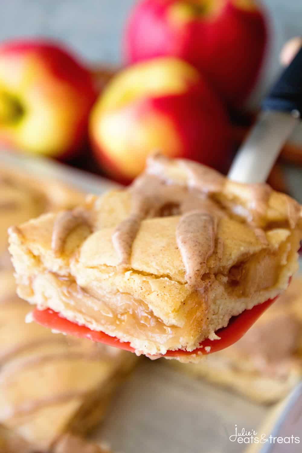 Apple Pie Bars on spatula