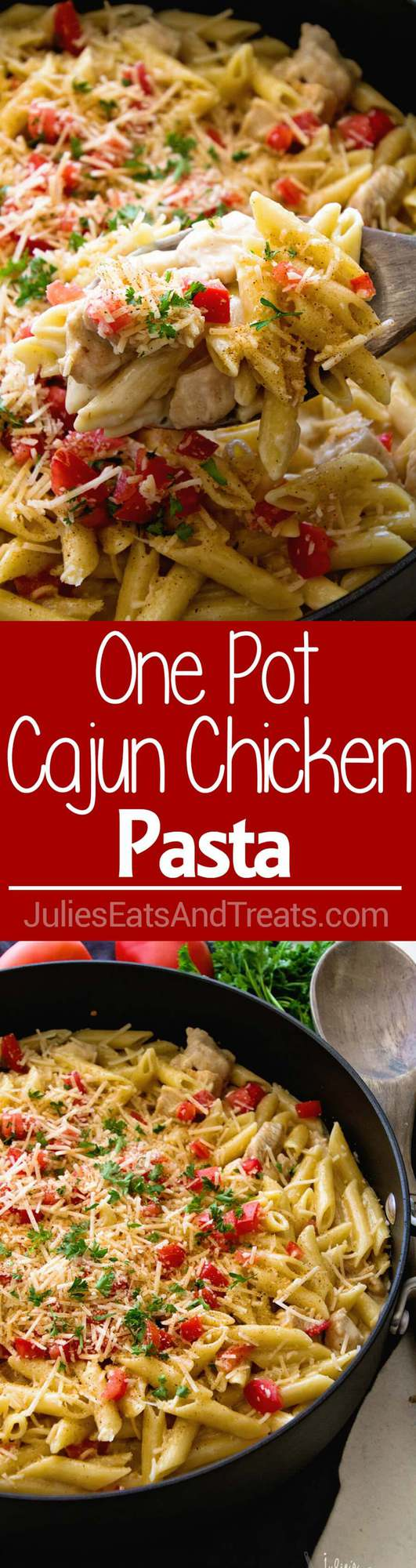One Pot Cajun Chicken Pasta ~ Creamy Pasta Sauce with Chicken, Cheese and the Perfect Amount of Cajun Spice! Easy Dinner Recipe That's Better Than a Restaurant's!
