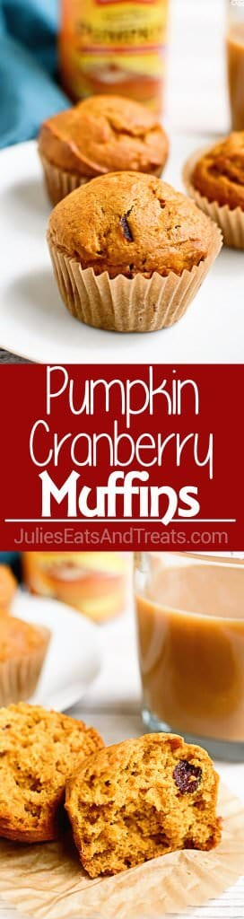 Pumpkin Cranberry Muffins ~ Light, Fluffy Muffins Perfect for Snacking or Breakfast! Loaded with Pumpkin Flavor and Tart Dried Cranberries!