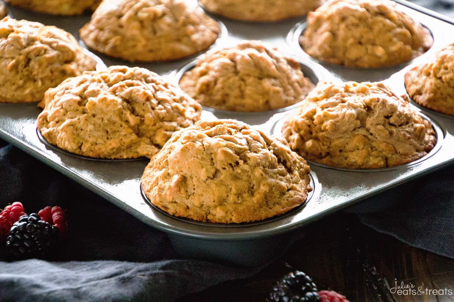Healthier Peanut Butter Banana Muffins ~ This Peanut Butter and Banana Combo Muffin is so Delicious! They are made with Whole Wheat Flour and Oats to Fill You Up at Breakfast!