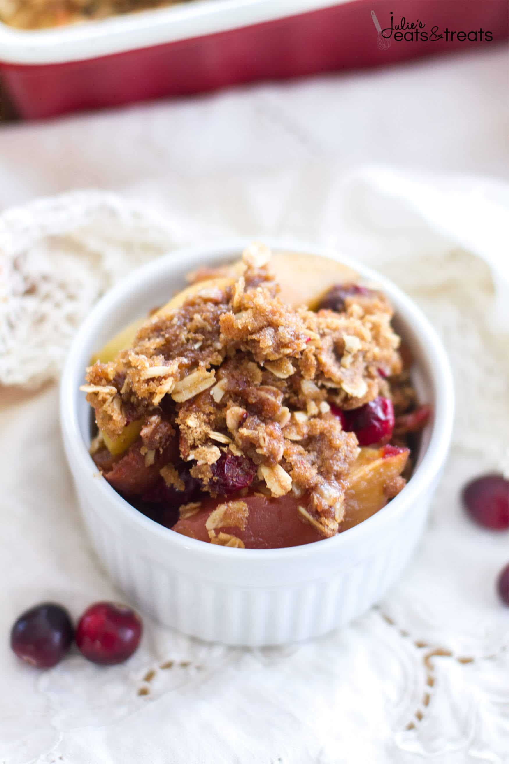 Cranberry Apple Cobbler is filled with sweet apples and fresh cranberries, baked then topped with the best brown sugar cinnamon crumble!