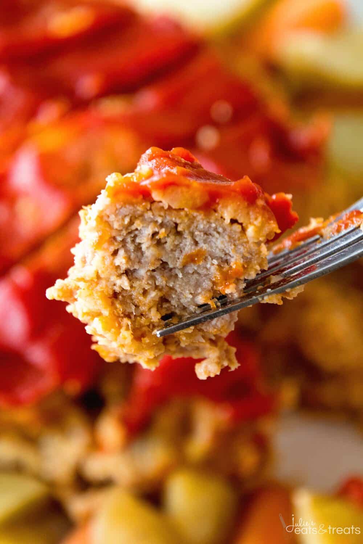 A fork holding a serving of Crockpot Meatloaf Recipe