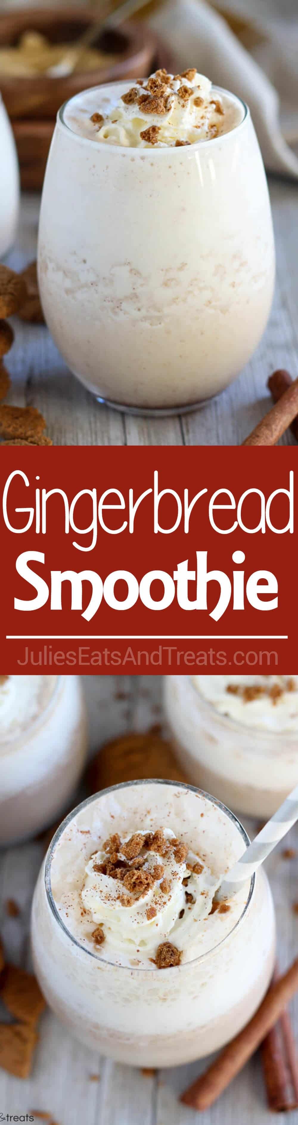 Gingerbread Smoothie ~ Healthy Gingerbread Smoothie Loaded with Classic Gingerbread Flavor. A Quick and Easy Breakfast, Snack, or Dessert for the Holiday Season.