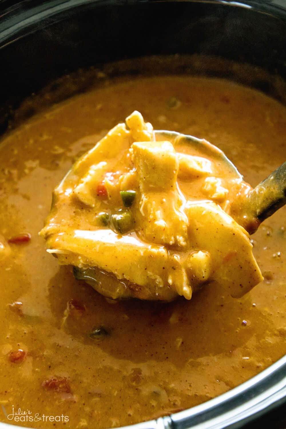 A ladle filled with Crock Pot King Ranch Chicken Soup