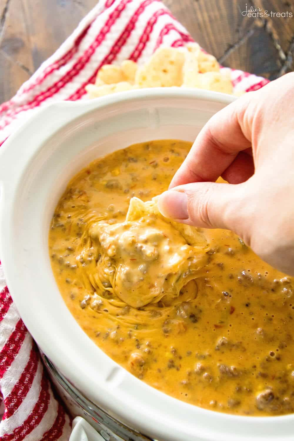 Spicy Crock Pot Cheesy Hamburger Dip ~ The BEST Cheese Dip Made in Your Slow Cooker! Perfect for a Party, Game Day or Just Because! This Appetizer Will Have You Coming Back for More!