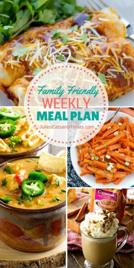 Family Friendly Weekly Meal Plan ~ Simple every day meals for the busy family! Simple, Easy & Delicious Recipes!