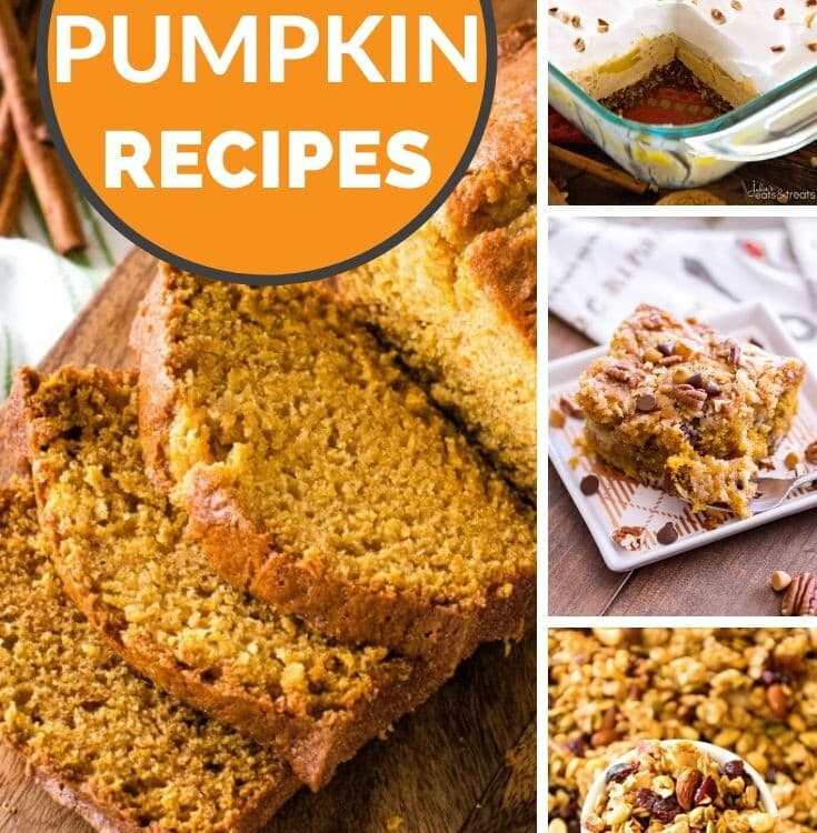 Collage with a large image of sliced pumpkin bread on the left and three smaller images of pumpkin lasagna, cake, and granola on the right. An orange circle in the top left corner with white text saying easy pumpkin recipes