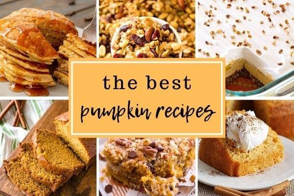 Photo collage of pumpkin recipe photos