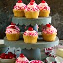 Cherry Almond Cupcakes ~ Light & Fluffy Almond Cupcakes Topped with Cherry Frosting! Perfect for Holidays, Birthdays or Just Because!