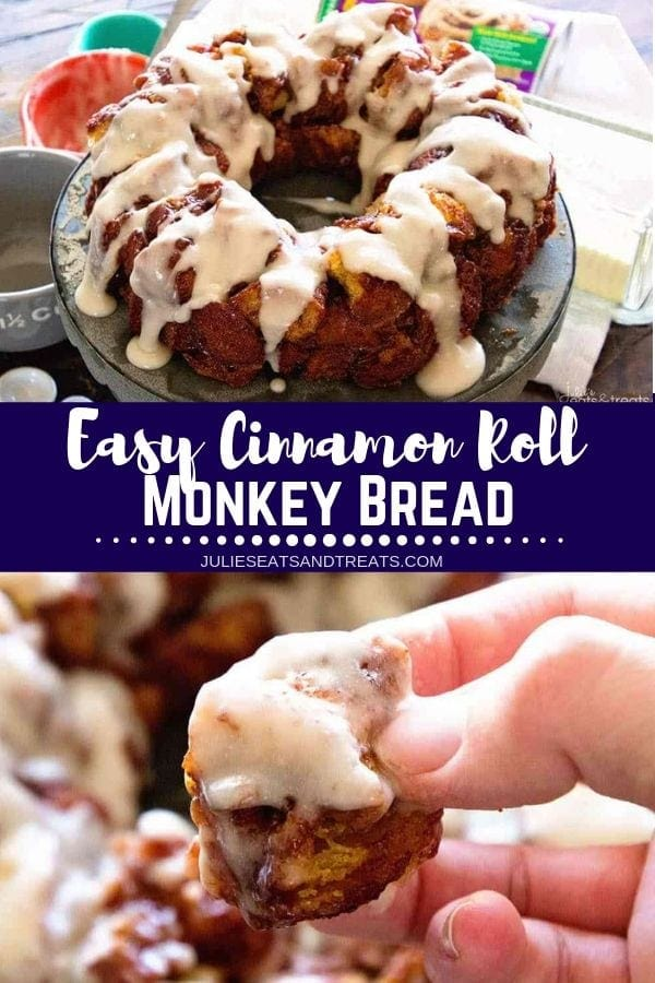 Collage with top image of a monkey bread ring with frosting on a cake stand, middle banner with text reading easy cinnamon roll monkey bread, and bottom image of hand holding a piece of monkey bread