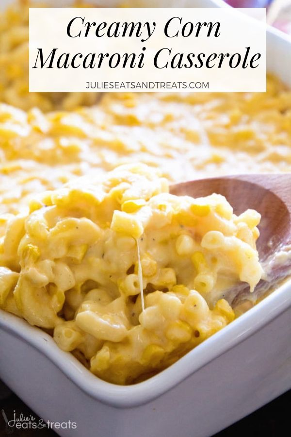 Creamy corn macaroni casserole being scooped with a wooden spoon
