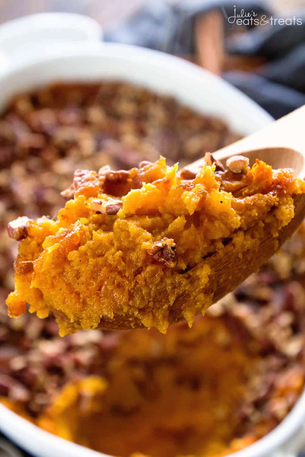 Light Sweet Potato Casserole ~ This Delicious Traditional Sweet Potato Casserole is Lightened Up for You! Loaded with Sweet Potatoes, Toasted Pecans, Cinnamon and Nutmeg! Perfect for a Holiday Side Dish!