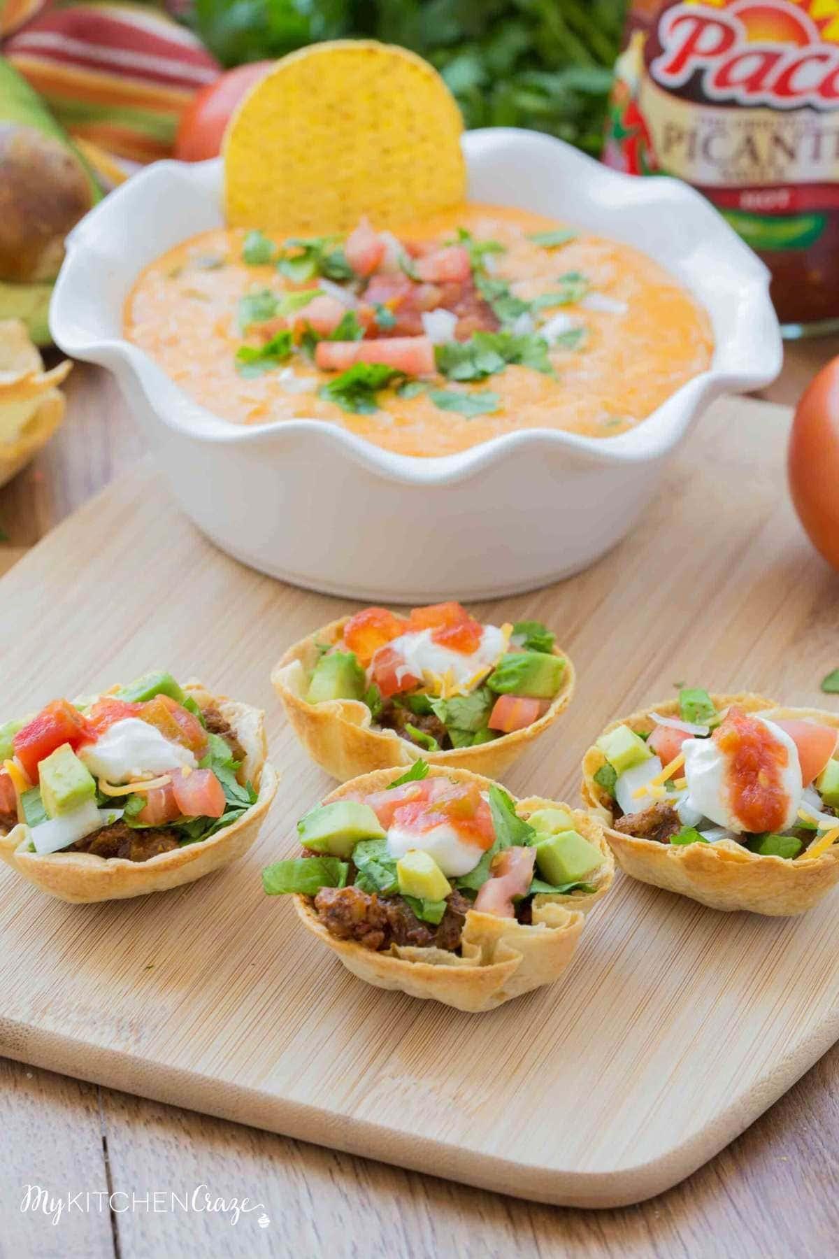 Taco Cups & Cheese Dip ~ mykitchencraze.com