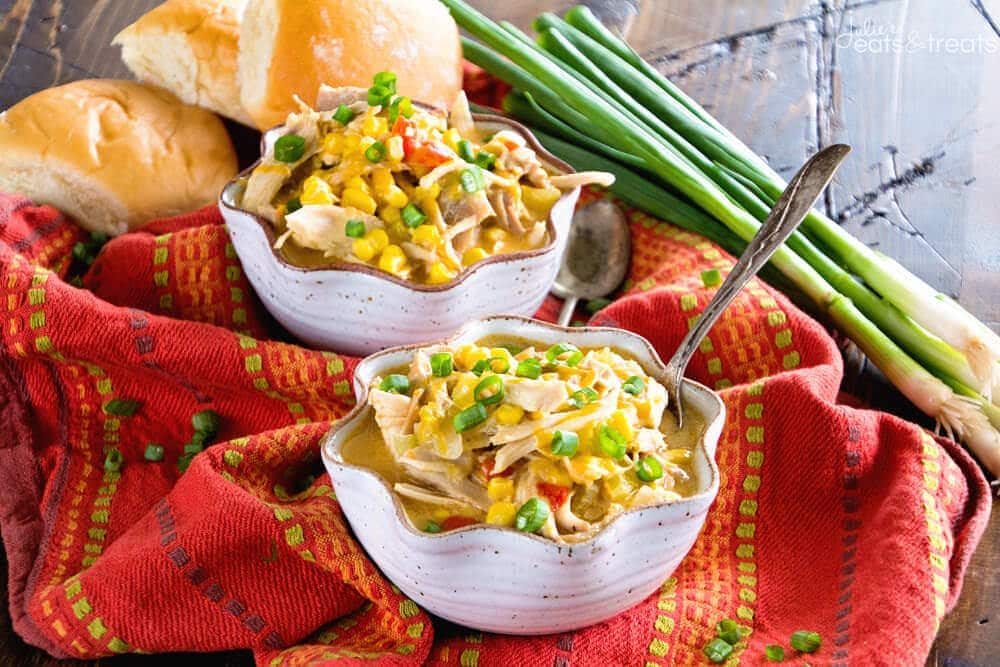 Turkey & Corn Chowder ~ Simple, Delicious, Hearty Chowder Perfect for Using up Leftover Turkey! Loaded with Roasted Bell Peppers, Green Chiles, Corn, Turkey and Cheese!