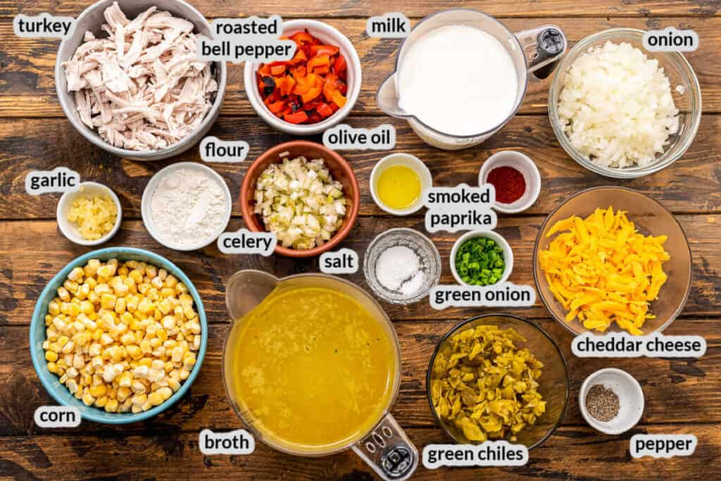Overhead image of Turkey Corn Chowder Ingredients in bowls on wooden background